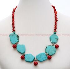 18in large natural red gravel Tibet silver turquoise women jewelry necklace