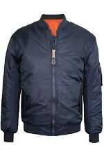 NEW MEN'S REVERSIBLE FLIGHT BOMBER JACKET, NAVY BLUE, SIZES S-XL