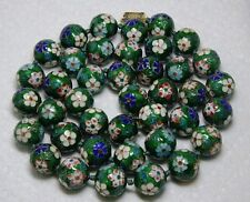 """Jumbo Cloisonne Necklace Kelly Green Floral 15mm Bead Necklace~Fancy Clasp 30"""""""