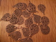 Red copper intricate delicate filigree tags/ charms 15mm x50 B04 UK SELLER