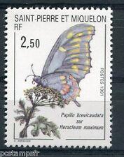 ST-PIERRE-et-MIQUELON, 1991, timbre 534, PAPILLON sur FLEUR, neuf**
