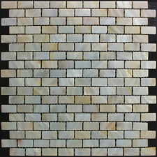 River Bed Natural Shell Mosaic Tiles - Mother of Pearl Rectangle Brick Cream