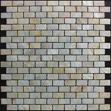 (6 Mosaic Piece Sample) River Bed Natural Shell Mosaics - Rectangle Brick Cream