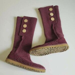 Ugg Australia Womens Burgundy Wine Cardy Knit Crochet Boots Size 7 5819