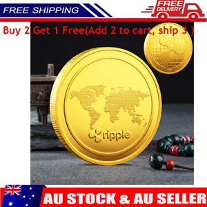 Gold Plated Ripple coin Commemorative Round Collectors Coin XRP Coin With Case