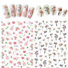 2Pcs 3D Nail Art Transfer Stickers Adhesive Pink Flower Dandelion Decals Decor