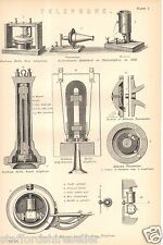 Antique Victorian Print c1880 Telephone Bell Edison Philadelphia 1876 Bells Hand
