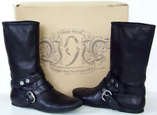 NINE WEST Vintage America SHERIFF black leather BELTED HARNESS mid calf BOOTS 6