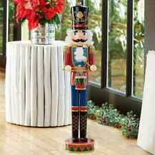 More details for 3.5ft (1m) indoor wooden nutcracker drummer with movable mouth xmas decor