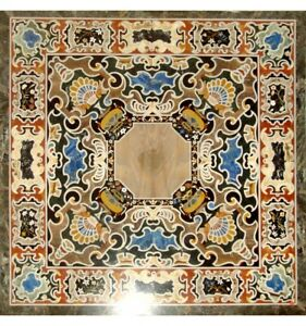 "36"" Black Marble Dining Table Top Pietradura Inlaid Mosaic Art Garden Decor B671"