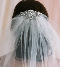1T of veil  Elbow length in ivory or white.  Wedding Veil With Comb with beaded