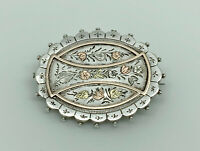 Gorgeous Antique Victorian English Sterling Silver & Gold Foliage Oval Brooch