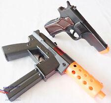 2x Toy Guns Military KG-9 J Toy Machine Pistol Black 9MM Cap Guns Set