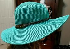 Womens Floppy Turquoise Straw Beach Hat Wide Brim Packable