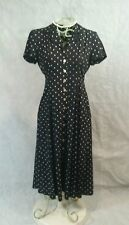 40s/WWII Inspired Sz 6 Swing  Dress Blk/White Mother of Pearl Buttons Shldr Pads