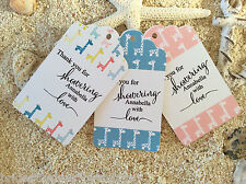 10 White Gift Tags Bomboniere Baby Shower Favour Personalised Thank you Giraffe