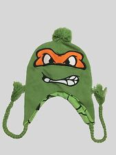 NEW TNMT Teenage Mutant Ninja Turtles MICHELANGELO KNIT laplander BEANIE w/pom