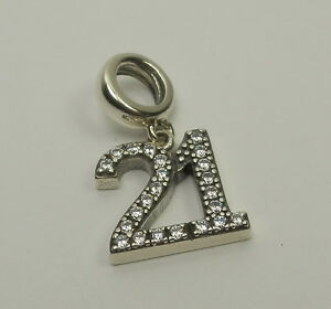 S925 Silver Dangly 21 Charm - 21st Birthday with Cubic Zirconia Gems 2016058