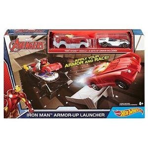 Hot Wheels Avengers Iron Man Armor-up Launcher Track Set W/ Iron Man Vehicle New
