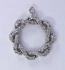 Vintage 10K White Gold Diamond Wreath Circle Pendant