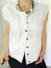 YARRA TRAIL WOMENS VEST / BLOUSE LINEN WHITE TAILORED BUTTONS POCKETS SZ 14