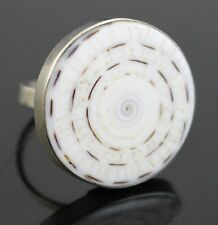 VTG Craft White Black Acrylic Abalone Shell Ring 925 Sterling Silver Band