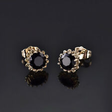 HUCHE Round Black Sapphire 18K Yellow Gold Filled Flower Lady Wedding Earrings
