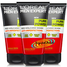 3x Loreal Men Expert Pure Power RED VOLCANO WASH 150ml