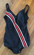 Women's Vintage Robby Len Black, White & Red Swimsuit Size 14 Union Made USA