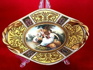 Antique 19th Century Royal Vienna Austria Beehive Classical Scene Gold Gilt Oval