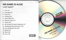 HIS NAME IS ALIVE Last Night 2002 UK 13-track promo test CD 4AD