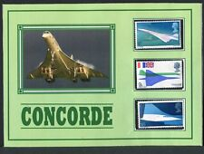 CONCORDE POSTCARD * DISPLAYING THE THREE 1969 UK CONCORDE STAMPS >
