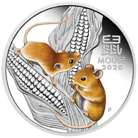 2020 Australian Lunar Series IIIYear of the Mouse 1oz Silver Proof Coloured Coin