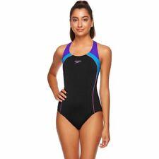 Speedo Women's Image Uplift One Piece Swimwear,  Black-Lake-Grape, Ladies Swimsu
