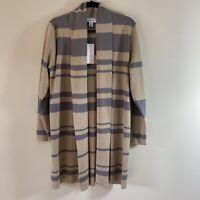 CALVIN KLEIN Women's Striped Long Length Open Front Cardigan Sweater Size L NEW