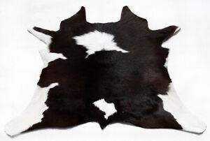 "Rare Cowhide Rugs Calf Hide Cow Skin Rug (27''x27"") Black Brown and White CH8492"