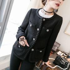 Black tweed jacket 2017 spring / autumn women's jacket new ladies fashion