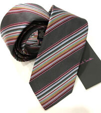 Paul Smith 6cm stretto lama CRAVATTA multi righe MADE IN ITALY RARISSIMA
