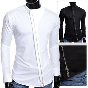 Men's Grandad CollarShirt Metal Zipper Coton Slim Fit Asymmetric White Black