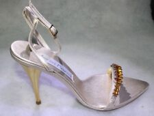 NIB Santini Mavardi Miami julia silk gold stone pumps sandals Shoes 36 6 4 heels
