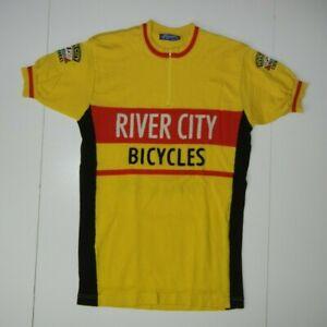 Retro RIVER CITY BICYCLES Portland Yellow WOOL CYCLING JERSEY Bike Shirt Men XL
