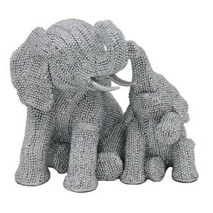 Silver Sparkling Diamante Art Sitting Elephant And Baby Ornament Bling LP46423