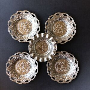 Turkish 4 Tea Saucers Serving Dishes Saucers And One Dip Bowl Silver Turkey