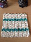 Crochet DishCloths.face Cloth.wash Cloth.handmade.100% Cotton.cream. Teal