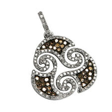 14K WHITE GOLD PAVE CHAMPAGNE BROWN ORNATE LACE DIAMOND SWIRL PENDANT NECKLACE
