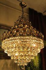 Antique Vintage French Basket Style Crystal Chandelier Luster Light 1960's.