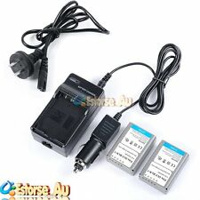 2pcs 1220mah Batterie Compact Battery Car Charger Set for Olympus Bln-1 Camera