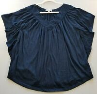 Carolyn Taylor Women's Short Flutter Sleeve Blouse Top Medium M Blue V Neck