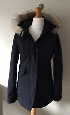 Women's WOOLRICH LUXURY ARCTIC PARKA Feather Down Coyote Fur Hood Uk Size S Navy