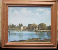 Original landscape,  river and sail boats oil painting  framed
